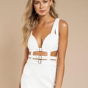 Tobi Ivory White Caged Mini Dress
